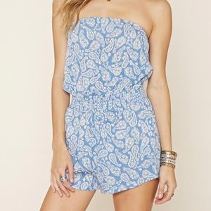 Pants - | strapless paisley print romper |